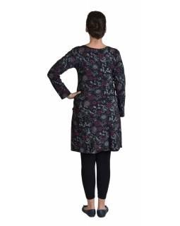 Krátké šaty s dlouhým rukávem, černé, drobný potisk, kulatý výstřih