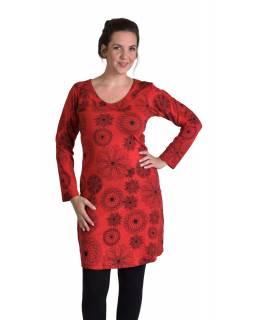 Krátké šaty s dlouhým rukávem, červené, drobný potisk, kulatý výstřih