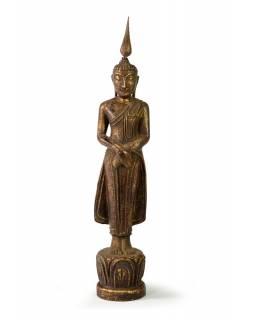 Narozeninový Buddha, neděle, teak, hnědá patina, 35cm