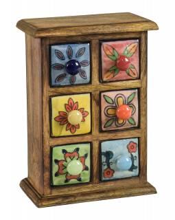 Dřevěná skříňka se 6 keramickými šuplíky, ručně malované, 17x10x24cm