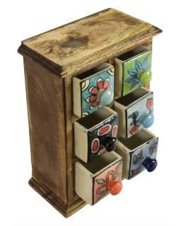 Dřevěná skříňka se 6 keramickými šuplíky, ručně malované, 17x10x26cm