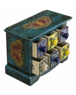 Dřevěná skříňka se 6 keramickými šuplíky, ručně malované, 23x12x18cm