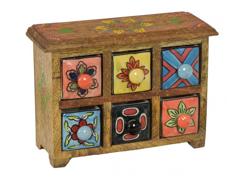 Dřevěná skříňka se 6 keramickými šuplíky, ručně malované, 25x10x18cm