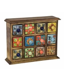 Dřevěná skříňka s 12 keramickými šuplíky, ručně malované, 31x10x24cm