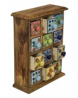 Dřevěná skříňka s 12 keramickými šuplíky, ručně malované, 24x10x32cm