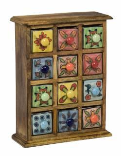 Dřevěná skříňka s 12 keramickými šuplíky, ručně malovaná, 25x10x32cm