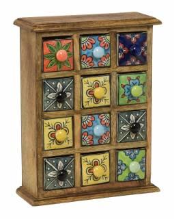 Dřevěná skříňka s 12 barevnými keramickými šuplíky, ručně malovaná, 25x10x32cm