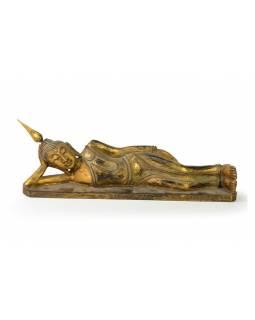 Narozeninový Buddha, úterý, teak, zlatá patina, 35cm