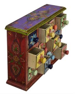 Dřevěná skříňka s 12 barevnými keramickými šuplíky, ručně malovaná, 31x10x24cm
