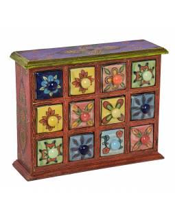 Dřevěná skříňka s 12 keramickými šuplíky, ručně malovaná, 31x10x24cm
