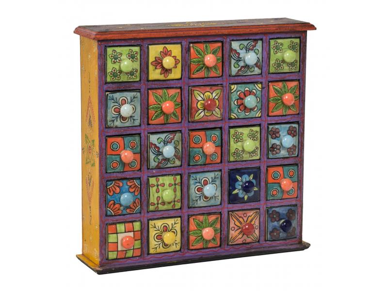 Dřevěná skříňka s 25 keramickými šuplíky, ručně malovaná, 38x9x39cm