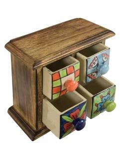Dřevěná skříňka se 4 keramickými šuplíky, ručně malované, 18x10x18cm