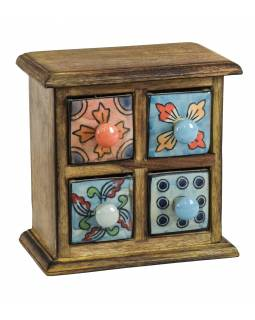 Dřevěná skříňka se 4 keramickými šuplíky, ručně malované, 17x10x17cm