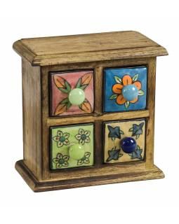 Dřevěná skříňka 18x10x18cm se 4 keramickými šuplíky, ručně malované