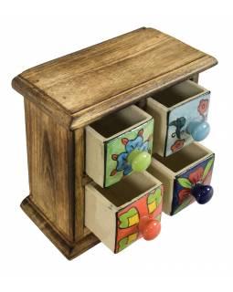 Dřevěná skříňka se 4 keramickými šuplíky, ručně malované, 17x9x18cm
