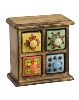 Dřevěná skříňka se 4 keramickými šuplíky, ručně malované, 17x9x17cm