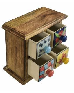 Dřevěná skříňka se 4 keramickými šuplíky, ručně malované, 18x9x17cm