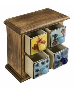 Dřevěná skříňka se 4 barevnými keramickými šuplíky, ručně malované, 17x10x17cm