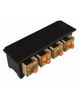 Dřevěná skříňka se 4 keramickými šuplíky, ručně malované, 32x10x11cm