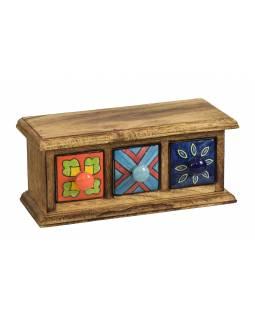Dřevěná skříňka se 3 keramickými šuplíky, ručně malované, 24x10x11cm