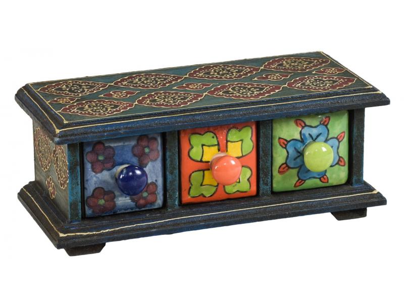 Dřevěná skříňka se 3 keramickými šuplíky, ručně malovaná, 23x10x9cm