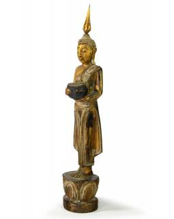 Narozeninový Buddha, středa, teak, zlatá patina, 35cm