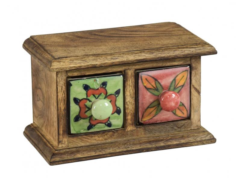 Dřevěná skříňka se 2 keramickými šuplíky, ručně malované, 17x10x10cm