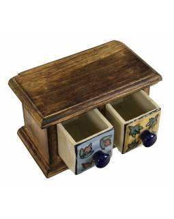 Dřevěná skříňka 17x9x10cm se 2 keramickými šuplíky, ručně malované