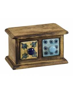 Dřevěná skříňka se 2 keramickými šuplíky,žlutý a modrý,ručně malované, 17x9x10cm
