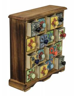 Dřevěná skříňka 31x10x32cm s 16 keramickými šuplíky, ručně malované