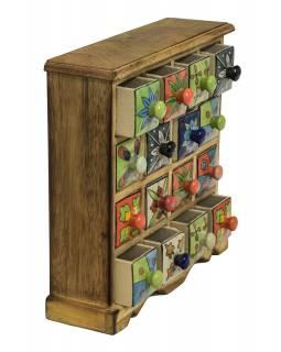 Skříňka dřevěná s 16 keramickými šuplíky, ručně malované, 31x10x32cm