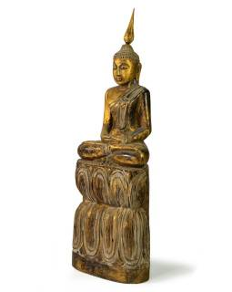 Narozeninový Buddha, čtvrtek, teak, zlatá patina, 35cm