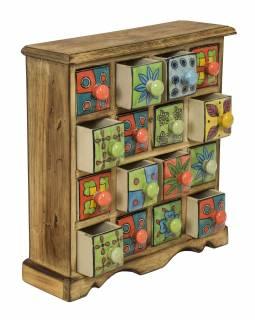 Dřevěná skříňka s 16 ručně malovanými keramickými šuplíky, 31x10x32cm