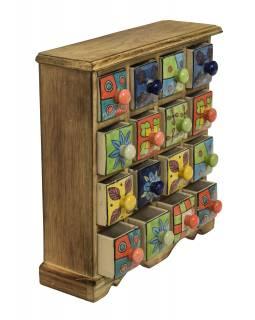 Dřevěná skřínečka s 16 keramickými šuplíky, ručně malované, 31x10x32cm