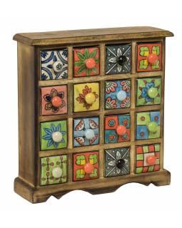 Dřevěná skříňka s 16 keramickými šuplíky, malované ručně, 31x10x32cm