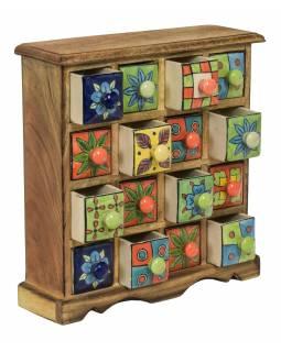 Dřevěná skříňka s 16 barevnými keramickými šuplíky, ručně malované, 31x10x32cm