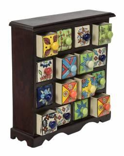 Dřevěná skříňka s 16 keramickými šuplíky, ručně malované, tmavé dřevo,31x10x32cm