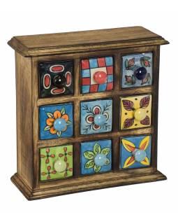 Dřevěná skříňka s 9 keramickými šuplíky, ručně malované, 24x10x24cm