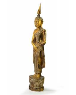 Narozeninový Buddha, neděle, teak, zlatá patina, 35cm