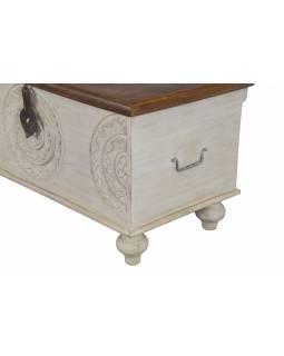 Truhla z mangového dřeva zdobená ručními řezbami, bílá patina, 88x43x45cm