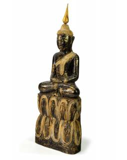 Narozeninový Buddha, čtvrtek, teak, černo - zlatá patina, 35cm