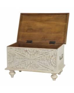 Truhla z mangového dřeva, ručně vyřezávaná, bílá, 58x34x35cm