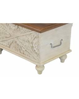Truhla z mangového dřeva, ručně vyřezávaná, bílá patina, 58x34x35cm
