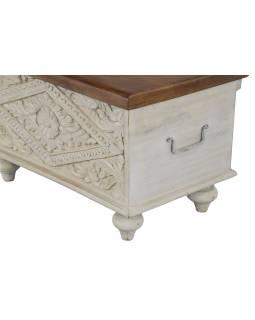 Truhla z mangového dřeva, ručně vyřezávaná, bílá 60x30x35cm, 59x34x35cm