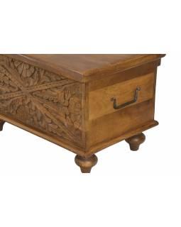 Truhla z mangového dřeva, ručně vyřezávaná, hnědá, 59x34x35cm