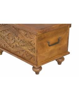 Truhla z mangového dřeva, ručně vyřezávaná, hnědá úprava, 58x35x35cm