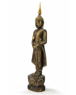 Narozeninový Buddha, neděle, teak, černo - zlatá patina, 35cm