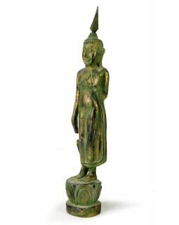 Narozeninový Buddha, pondělí, teak, zelená patina, 35cm