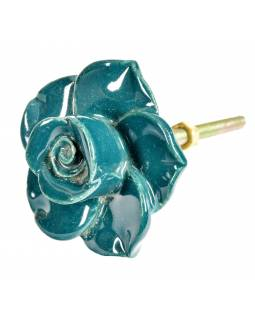 Malovaná porcelánová úchytka na šuplík, růže, smaragdově zelená, 5x4,6cm