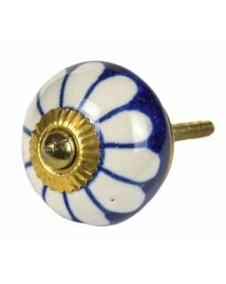 Malovaná porcelánová úchytka na šuplík, tmavě modrá, bílá květina, průměr 3,7cm
